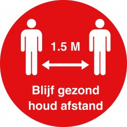 Ronde sticker rood blijf...